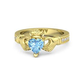 Heart Blue Topaz 18K Yellow Gold Ring with Diamond