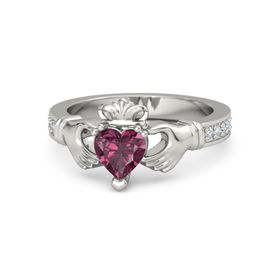Heart Rhodolite Garnet Palladium Ring with Diamond