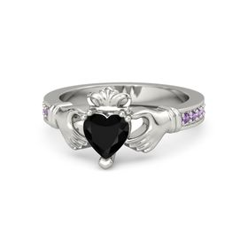 Heart Black Onyx Palladium Ring with Amethyst
