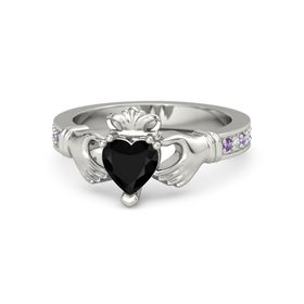 Heart Black Onyx Palladium Ring with Amethyst and Diamond