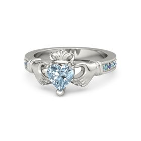 Heart Aquamarine Palladium Ring with London Blue Topaz and Blue Sapphire