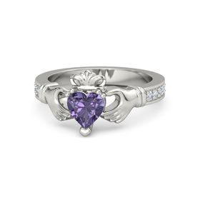 Heart Iolite Palladium Ring with Diamond