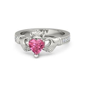 Heart Pink Tourmaline Palladium Ring with Diamond