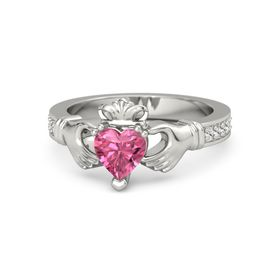 Heart Pink Tourmaline Palladium Ring with White Sapphire