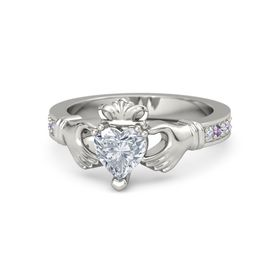 Heart Diamond Platinum Ring with Diamond and Amethyst
