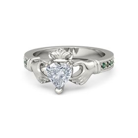 Heart Diamond Platinum Ring with Alexandrite and Green Tourmaline