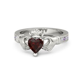 Heart Red Garnet Platinum Ring with Diamond & Amethyst