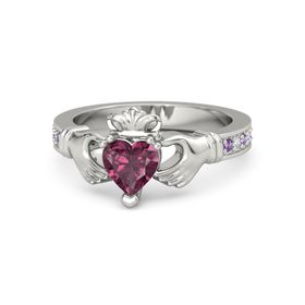 Heart Rhodolite Garnet Platinum Ring with Amethyst & Diamond