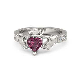 Heart Rhodolite Garnet Platinum Ring with Diamond and White Sapphire