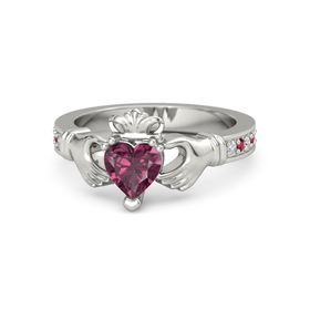Heart Rhodolite Garnet Platinum Ring with Diamond and Ruby