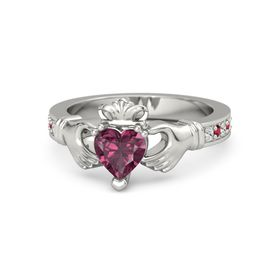 Heart Rhodolite Garnet Platinum Ring with White Sapphire & Ruby