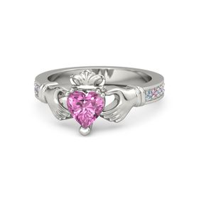 Heart Pink Sapphire Platinum Ring with Blue Topaz and Pink Tourmaline