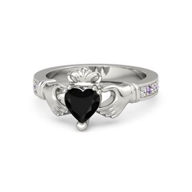 Heart Black Onyx Platinum Ring with White Sapphire & Amethyst