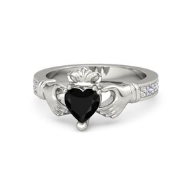 Heart Black Onyx Platinum Ring with White Sapphire and Tanzanite