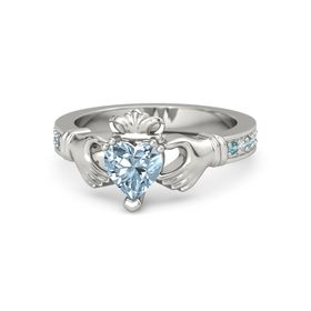 Heart Aquamarine Platinum Ring with London Blue Topaz and Diamond