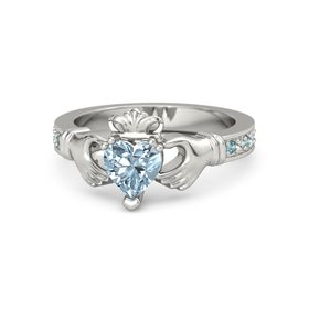 Heart Aquamarine Platinum Ring with London Blue Topaz and White Sapphire