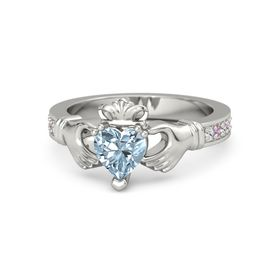 Heart Aquamarine Platinum Ring with White Sapphire and Pink Tourmaline