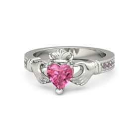 Heart Pink Tourmaline Platinum Ring with Rhodolite Garnet