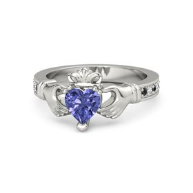 Heart Tanzanite Platinum Ring with Black Diamond and Diamond