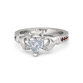 Heart Diamond Sterling Silver Ring with Red Garnet