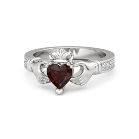Heart Red Garnet Sterling Silver Ring with Diamond