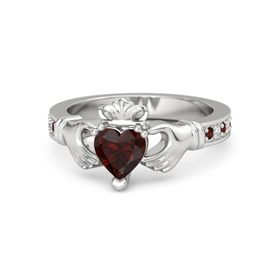 Heart Red Garnet Sterling Silver Ring with Red Garnet & Diamond