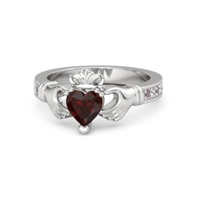 Heart Red Garnet Sterling Silver Ring with Rhodolite Garnet and White Sapphire