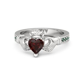 Heart Red Garnet Sterling Silver Ring with Alexandrite