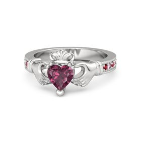 Heart Rhodolite Garnet Sterling Silver Ring with Ruby and Pink Sapphire