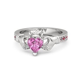 Heart Pink Sapphire Sterling Silver Ring with Rhodolite Garnet and Ruby