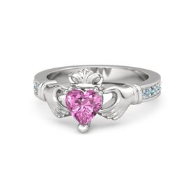 Heart Pink Sapphire Sterling Silver Ring with Blue Topaz & London Blue Topaz