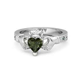 Heart Green Tourmaline Sterling Silver Ring with Diamond and Alexandrite