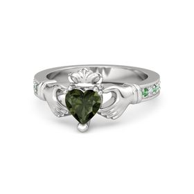Heart Green Tourmaline Sterling Silver Ring with Emerald & Diamond