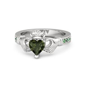 Heart Green Tourmaline Sterling Silver Ring with Emerald & Alexandrite