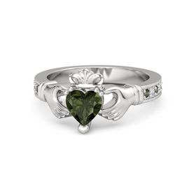 Heart Green Tourmaline Sterling Silver Ring with Green Tourmaline & Diamond