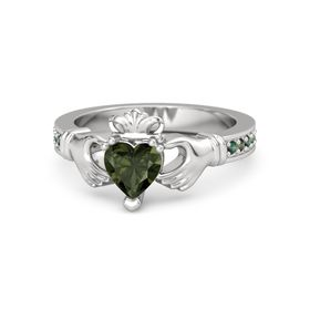 Heart Green Tourmaline Sterling Silver Ring with Alexandrite and Green Tourmaline