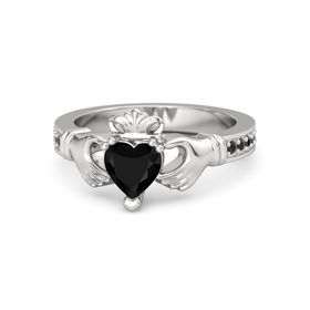 Heart Black Onyx Sterling Silver Ring with Black Diamond
