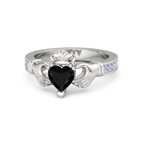 Heart Black Onyx Sterling Silver Ring with Tanzanite