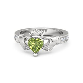 Heart Peridot Sterling Silver Ring with Diamond