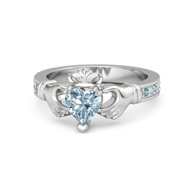 Heart Aquamarine Sterling Silver Ring with London Blue Topaz and Diamond