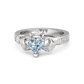 Heart Aquamarine Sterling Silver Ring with Diamond