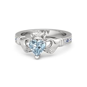 Heart Aquamarine Sterling Silver Ring with Diamond and Blue Sapphire