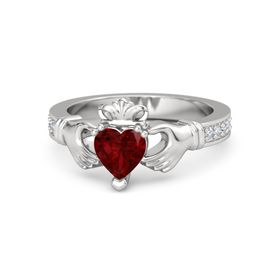 Heart Ruby Sterling Silver Ring with Diamond