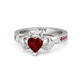 Heart Ruby Sterling Silver Ring with Ruby