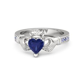Heart Blue Sapphire Sterling Silver Ring with Iolite and Blue Sapphire