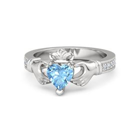 Heart Blue Topaz Sterling Silver Ring with Diamond