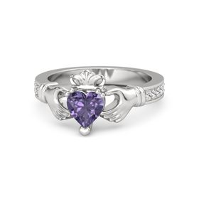 Heart Iolite Sterling Silver Ring with White Sapphire