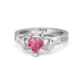 Heart Pink Tourmaline Sterling Silver Ring with London Blue Topaz and Pink Sapphire