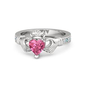 Heart Pink Tourmaline Sterling Silver Ring with Diamond and London Blue Topaz