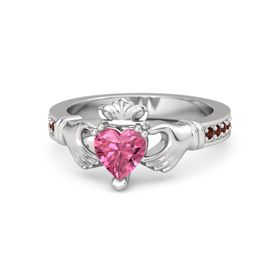 Heart Pink Tourmaline Sterling Silver Ring with Red Garnet